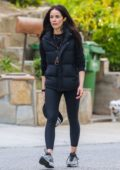 Abigail Spencer goes makeup free while out for a walk with a friend in Studio City, California