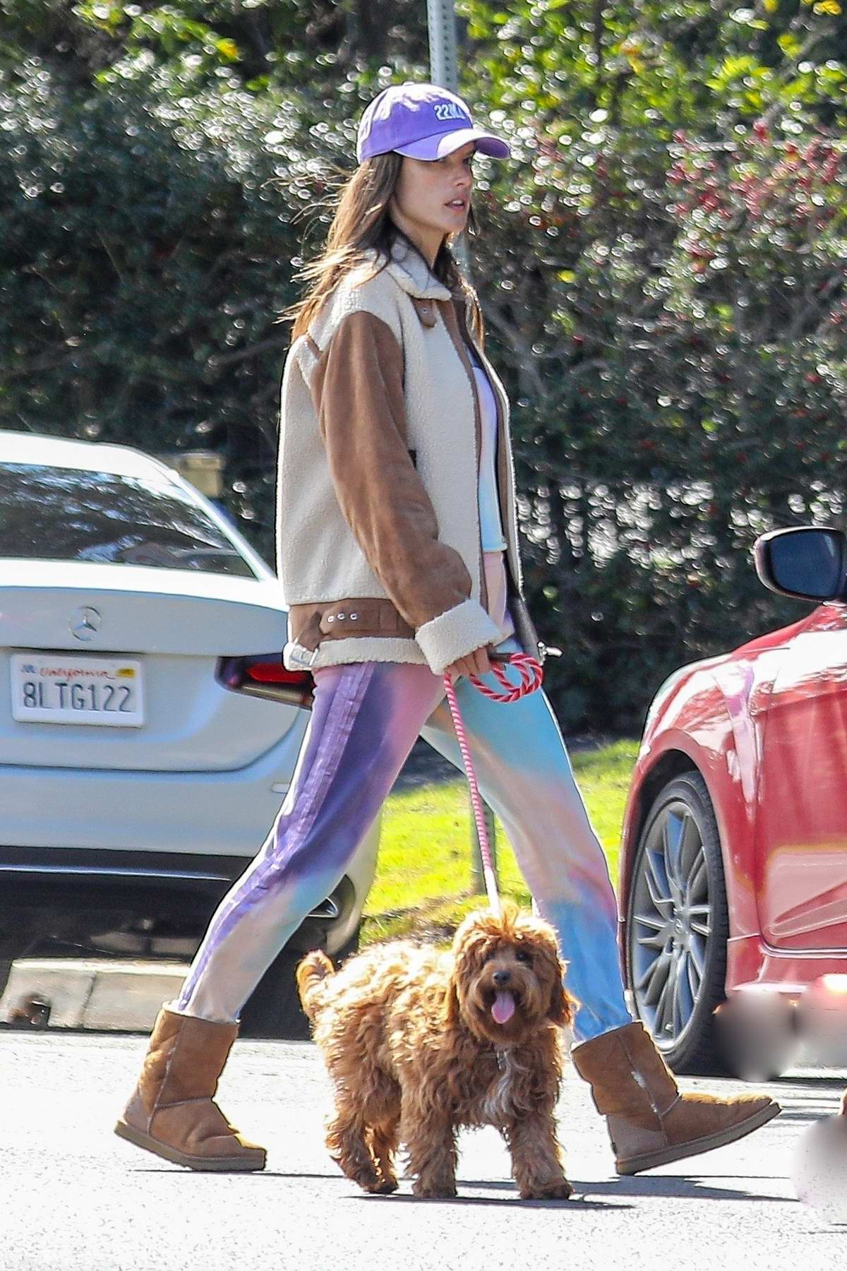 Alessandra Ambrosio dons a colorful tie-dye outfit while out for a walk with her dog on Easter in Santa Monica, California