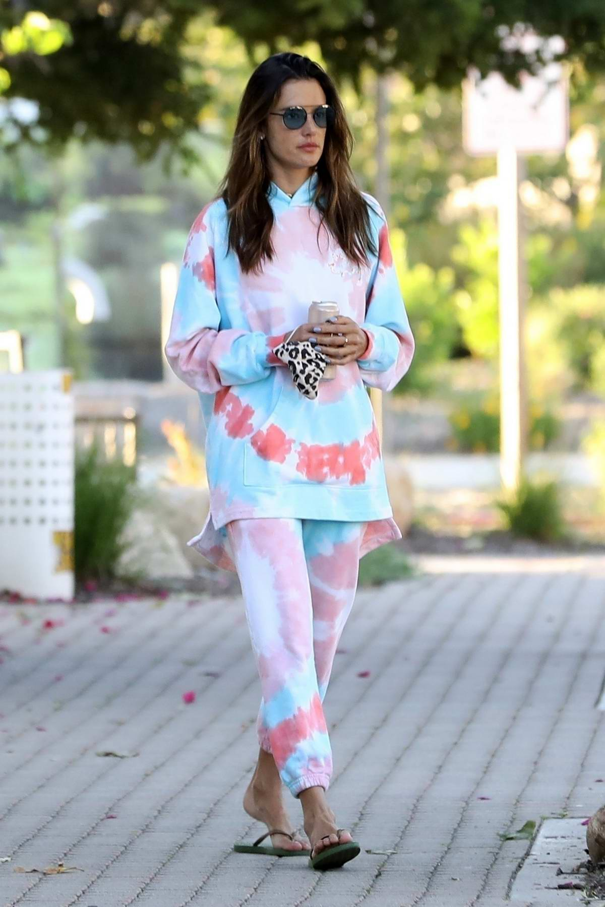 Alessandra Ambrosio rocks tie-dye sweatsuit as she steps out to pick up some breakfast in Malibu, California