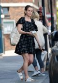 Alice Eve looks cute in a monochrome mini dress while out running errands in London, UK