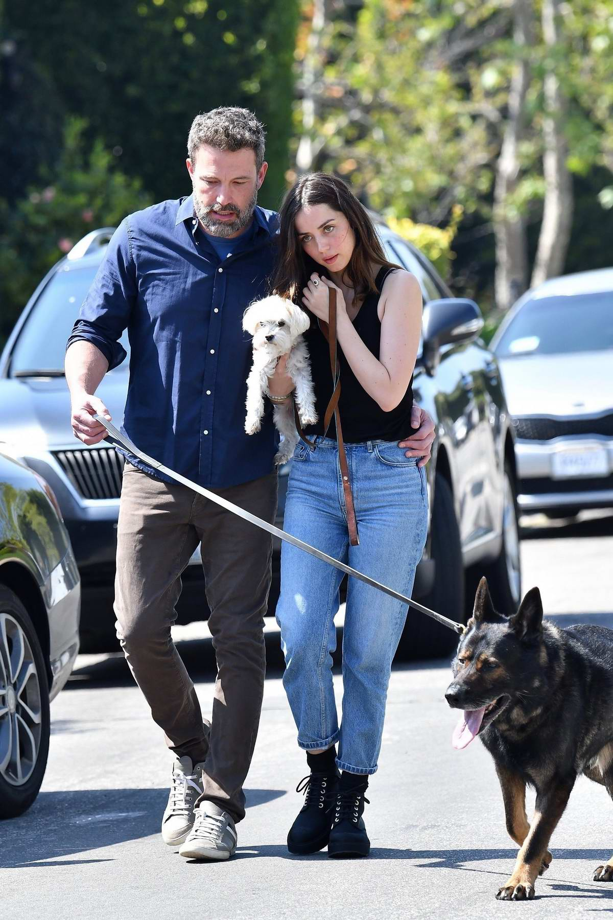 Ana de Armas and Ben Affleck pack on the PDA while out for a morning stroll with their dogs in Brentwood, California