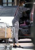 April Love Geary sports leopard print during another grocery run in Malibu, California