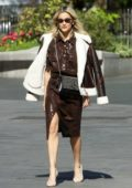Ashley Roberts looks stylish in brown leather ensemble as she leaves Global Radio Studios in London, UK