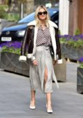 Ashley Roberts wore a fur-trimmed jacket with patterned outfit while leaving Global Studios in London, UK