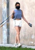 Aubrey Plaza wears a crop top and shorts while walking her dogs in Los Angeles