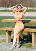 Bianca Gascoigne gets in some outdoor workout at park in Gravesend, Kent, UK