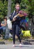 Brie Larson stops by a farmer's market wearing a face mask in Malibu, California