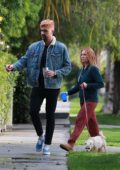 Brittany Snow and husband Tyler Stanaland step out for a walk with their dog in Los Angeles