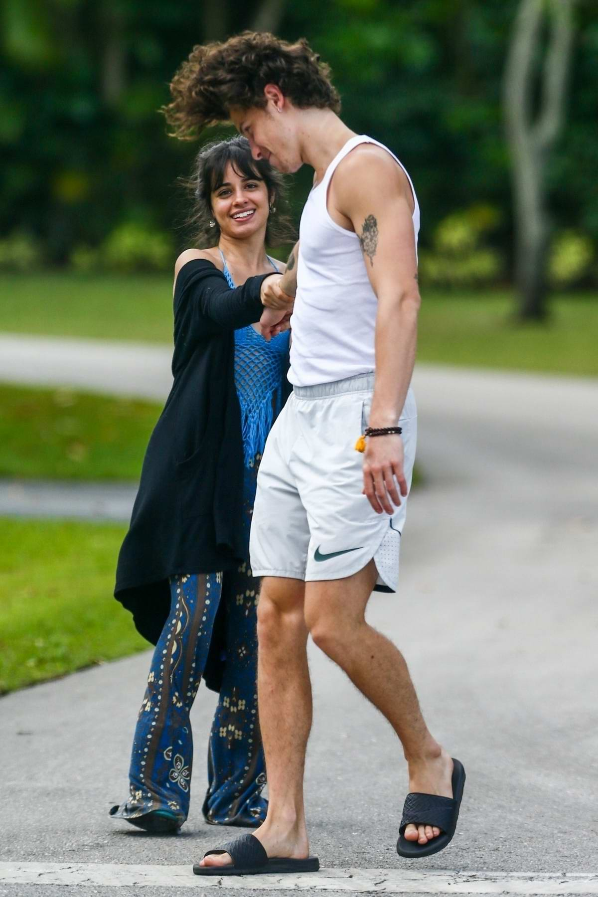 Camila Cabello and Shawn Mendes are all smiles while out for their morning walk in Coral Gables, Florida