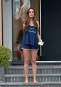 Charlotte Crosby spotted in her PJ's while receiving a takeaway order at her house in Sunderland, UK