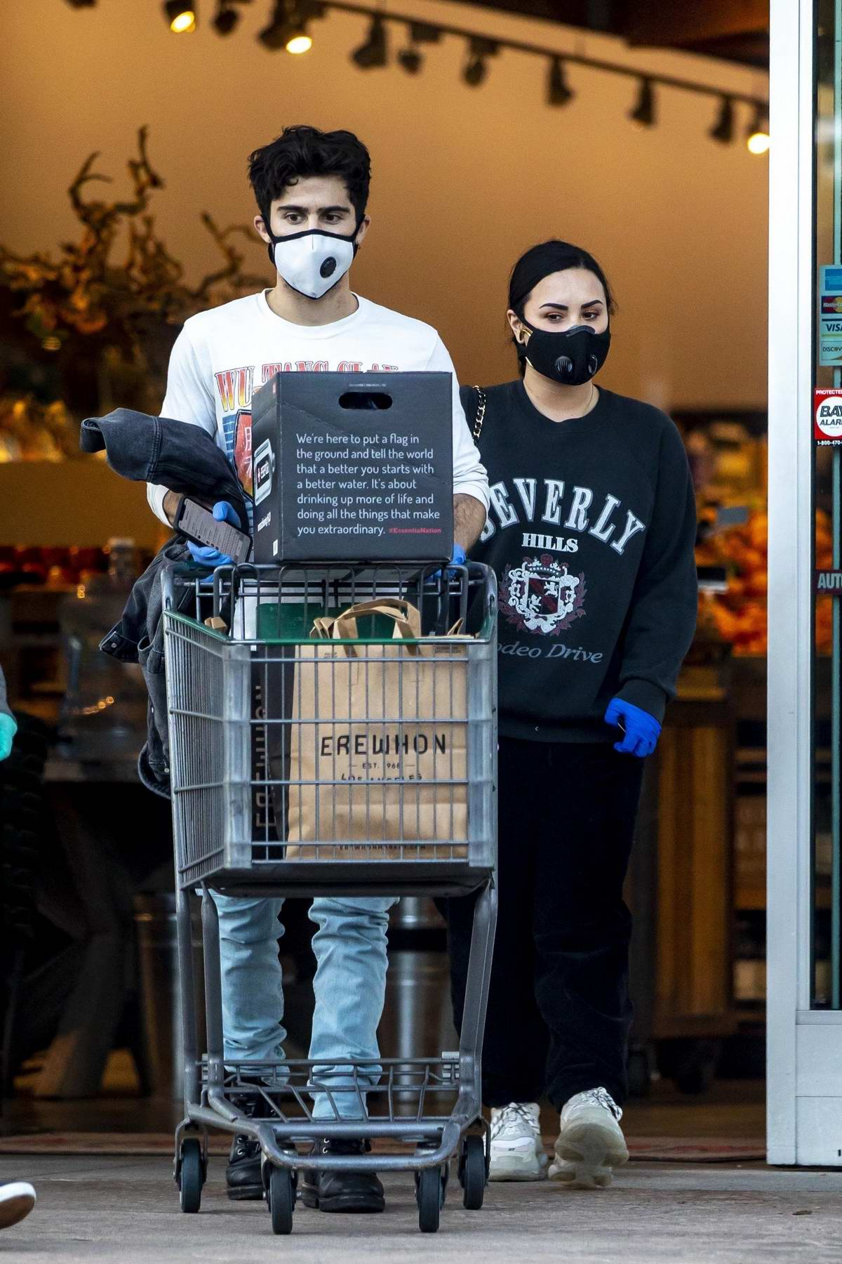 Demi Lovato and Max Ehrich seen stocking up on groceries at Erewhon Organic store in Los Angeles