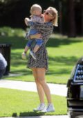 Diane Kruger looks joyful as she enjoys a day with her daughter at the park in Los Angeles