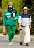 Elizabeth Olsen and Robbie Arnett pick up lunch to-go during stay-at-home order in Los Angeles