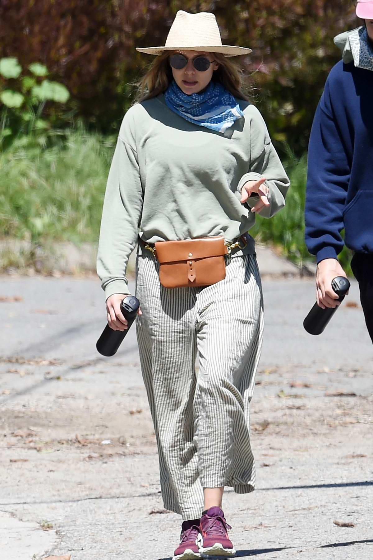 Elizabeth Olsen enjoys a hike with Robbie Arnett in Hollywood Hills, California