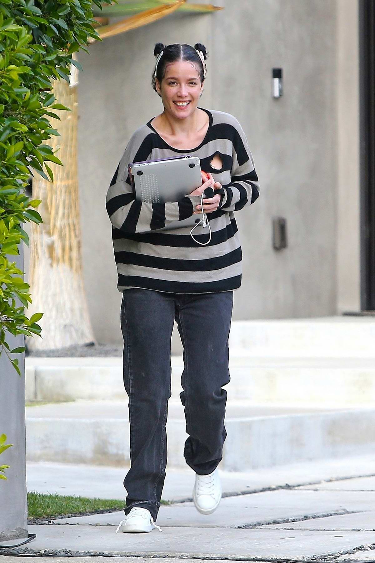 Halsey is all smiles as she makes a house visit to work on some music in Sherman Oaks, California