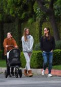Jennifer Garner steps out with her kids for an evening walk in Brentwood, California
