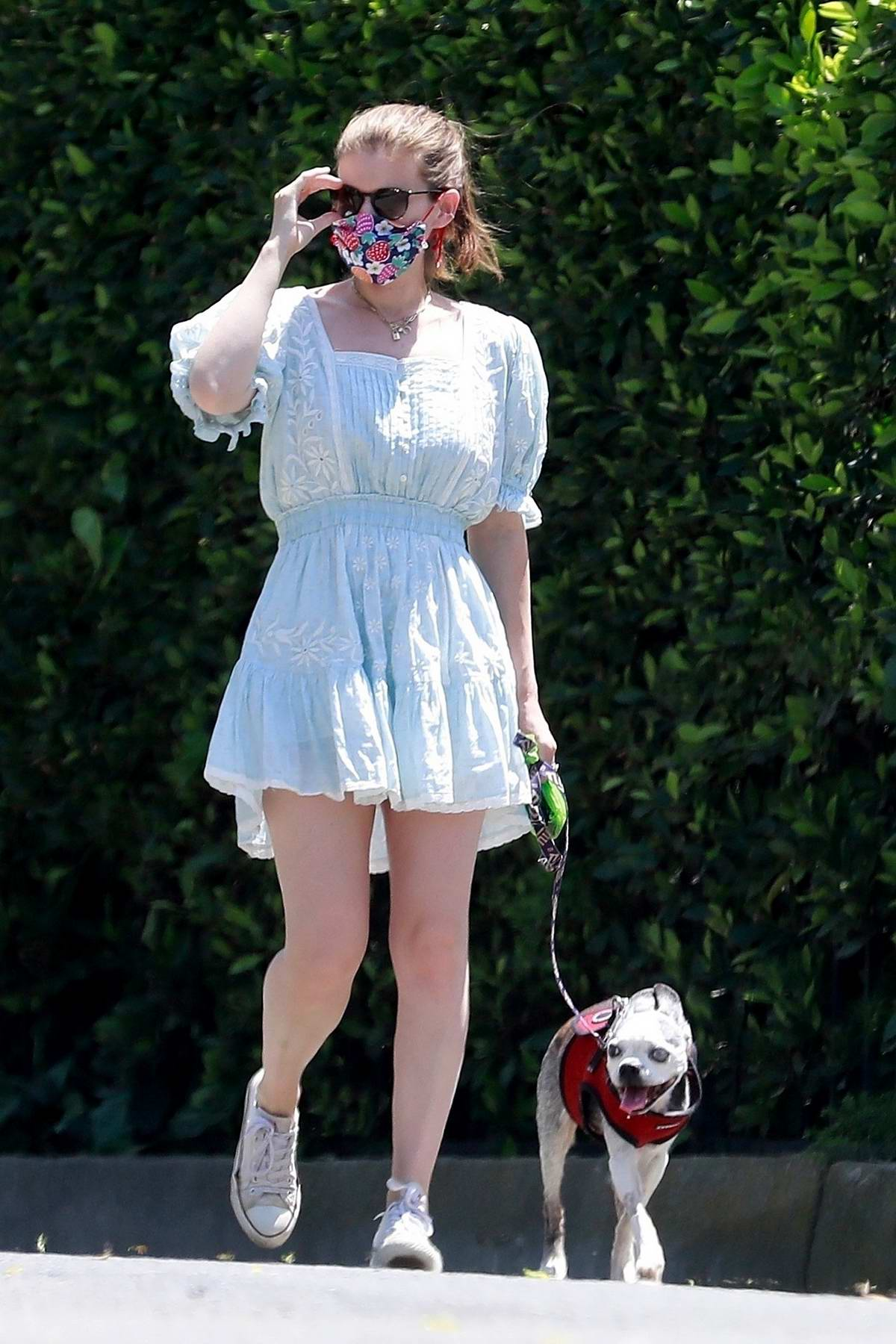 Kate Mara looks lovely in a cute little blue dress as she takes her dog out for a walk in Los Feliz, California