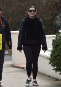 Kelly Brook sports a black jacket and leggings while out for walk with Jeremy Parisi during lockdown in London, UK