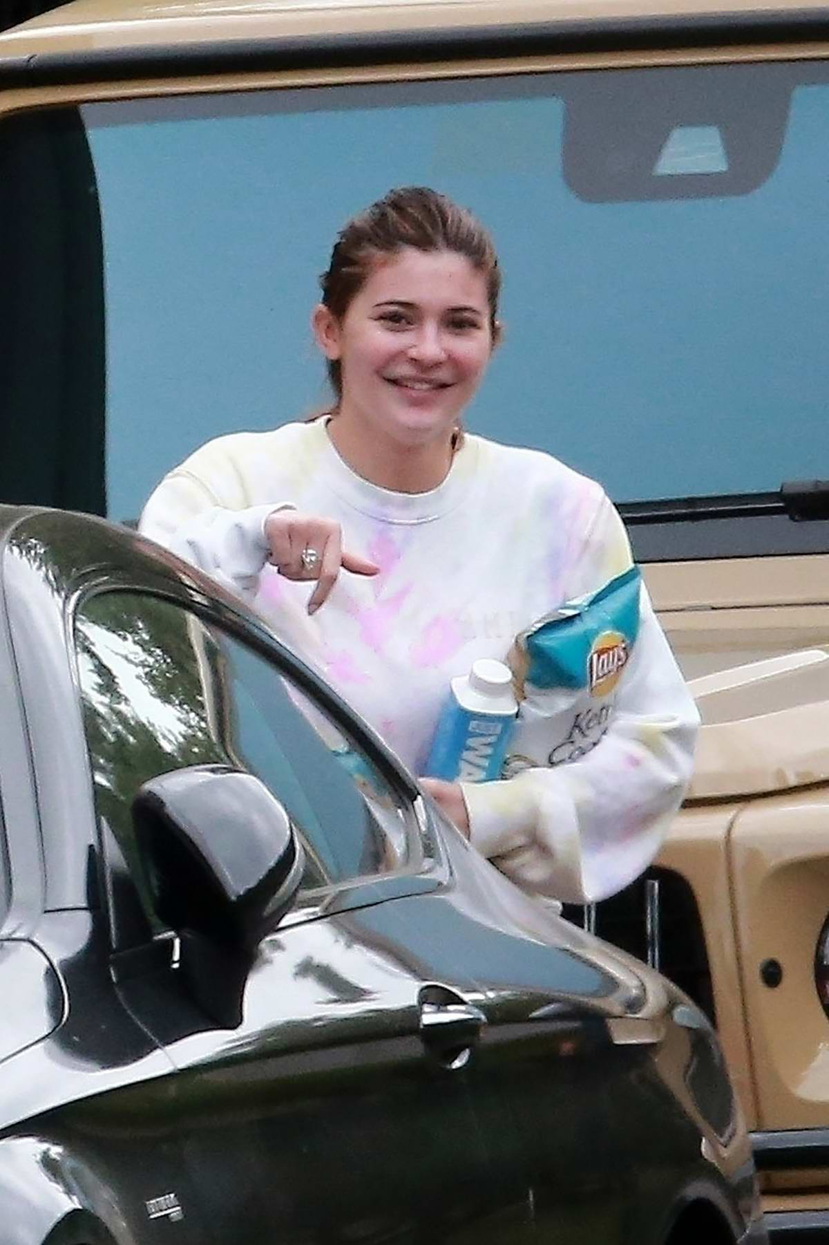 Kylie Jenner is all smiles while making a visit to Anastasia Karanikolaou in Beverly Hills, California