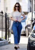 Lily James looks lovely as she steps out in a t-shirt and jeans on her 31st birthday in Primrose Hill, London, UK