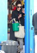 Lily James picks up a few essential items at a local hardware store in London, UK