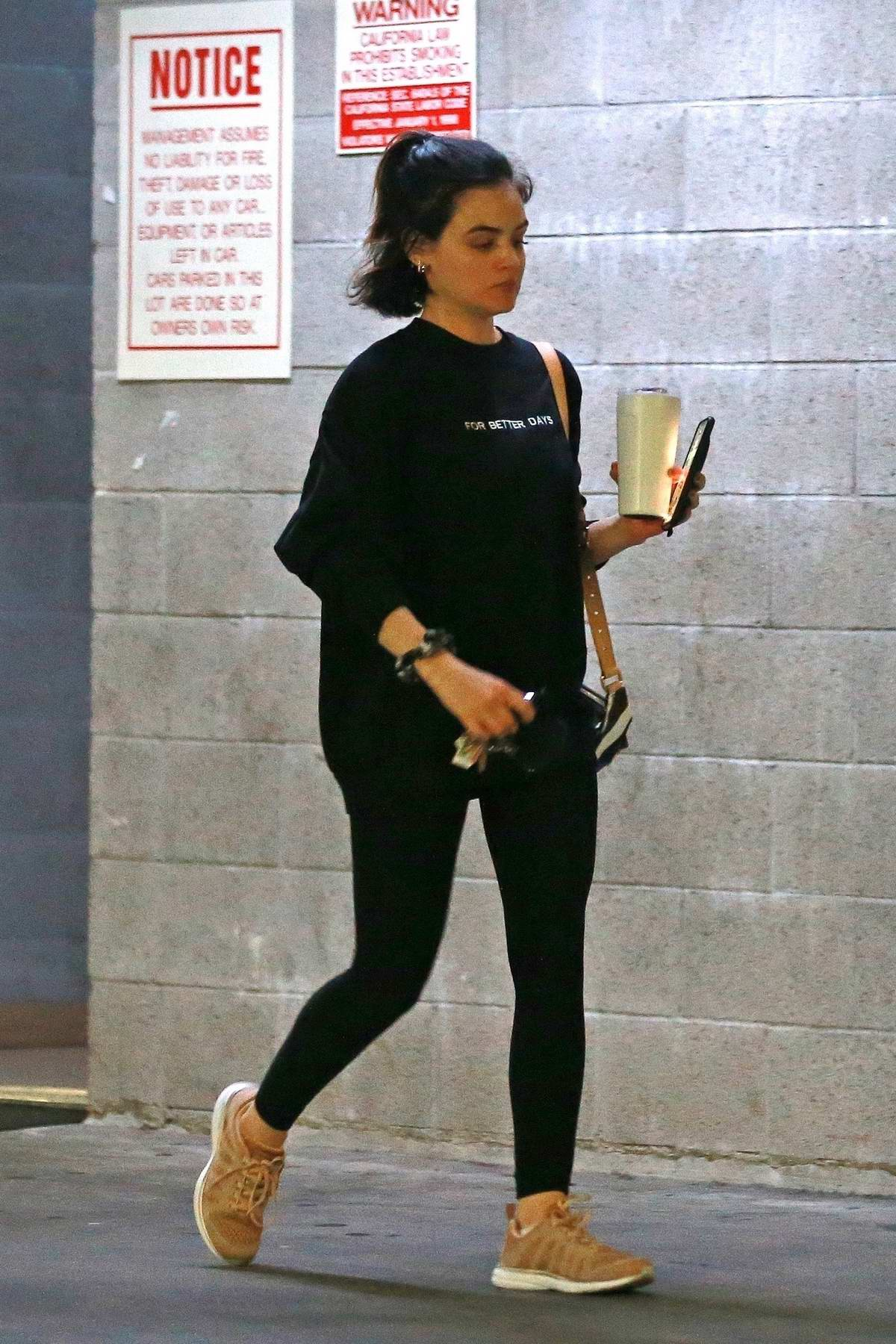 Lucy Hale seen leaving after a workout session at a private gym in Los Angeles