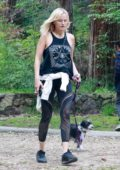 Malin Akerman gets in a hike with her dog at Griffith Park in Los Feliz, California