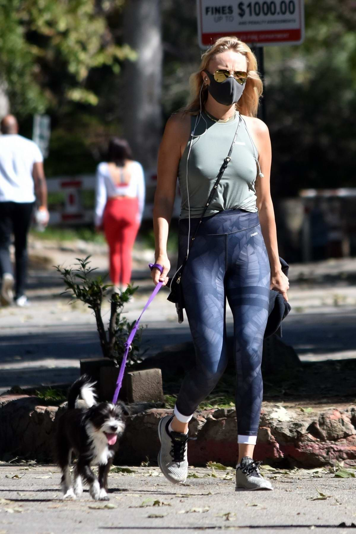 Malin Akerman wears a green tank top and blue leggings while out for a walk with her dog in Los Feliz, California
