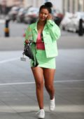 Maya Jama flaunts her legs in mint-green miniskirt while leaving BBC Radio One in London, UK