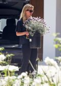 Mia Goth brings car full of potted plants at Shia Labeouf's house in Pasadena, California