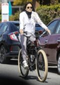 Michelle Rodriguez enjoys a bike ride with Elizabeth Debicki during the lockdown in Los Angeles