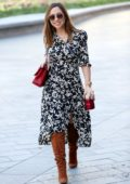 Myleene Klass looks great in a floral dress as she arrives at Smooth Radio in London, UK