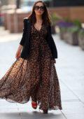 Myleene Klass looks great in animal print dress while arriving at Global Radio in London, UK