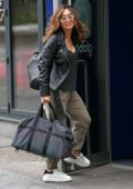 Myleene Klass looks great in black leather jacket as she arrives Global Studios in London, UK