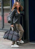 Myleene Klass looks great in black leather jacket as she arrives Global Studios in London, UK