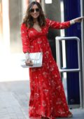 Myleene Klass looks great in red maxi dress as she arrives for her show on Smooth Radio in London, UK
