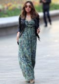 Myleene Klass looks lovely in a green maxi dress as she arrives for her Smooth Radio show at Global studios in London, UK