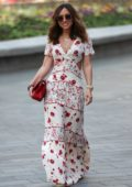 Myleene Klass looks pretty in a floral print maxi dress while leaving the Smooth Radio Studios in London, UK