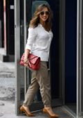 Myleene Klass looks stylish in a white shirt and khaki trousers as she arrives at Global Studios in London, UK