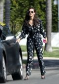 Nina Dobrev seen wearing a jumpsuit after wrapping up her morning workout in Los Angeles
