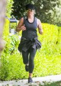 Reese Whiterspoon keeps up with her daily routine as she goes for a run in Brentwood, California