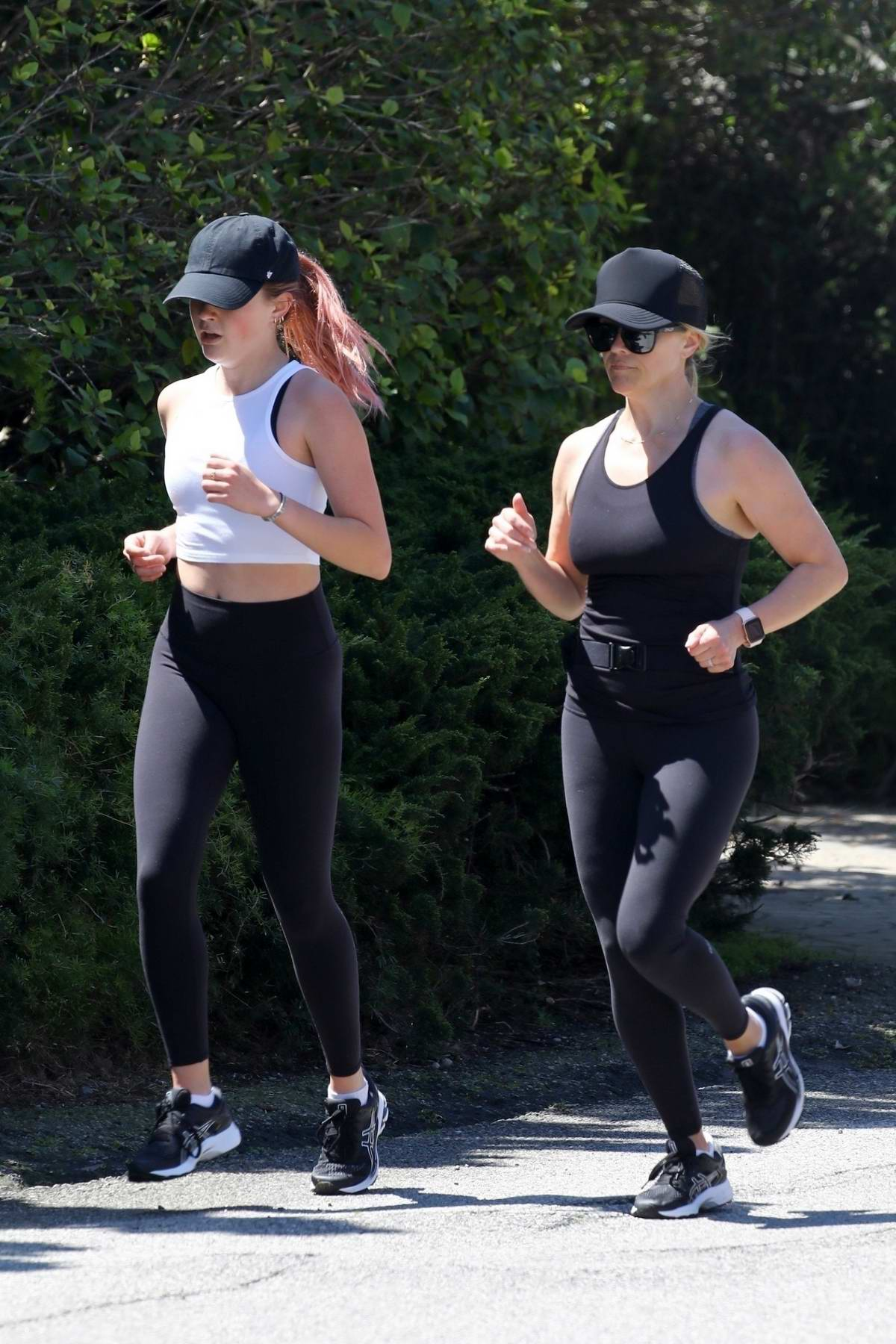 Reese Witherspoon and Ava Phillippe go out for jogging around their neighborhood in Pacific Palisades, California