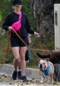 Reese Witherspoon seen wearing a black sweatshirt and shorts while out walking her dogs in Pacific Palisades, California