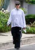 Rooney Mara swears an oversized hoodie and Adidas track pants while out for a stroll in Los Angeles
