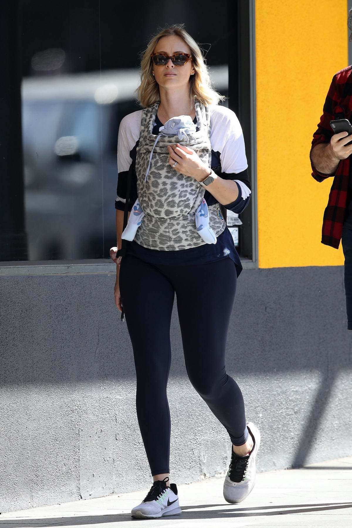 Sylvia Jeffreys sports a white shirt and black leggings while out for a stroll in Sydney, Australia
