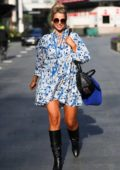 Vogue Williams seen leaving Heart Radio breakfast show in summer dress in London, UK