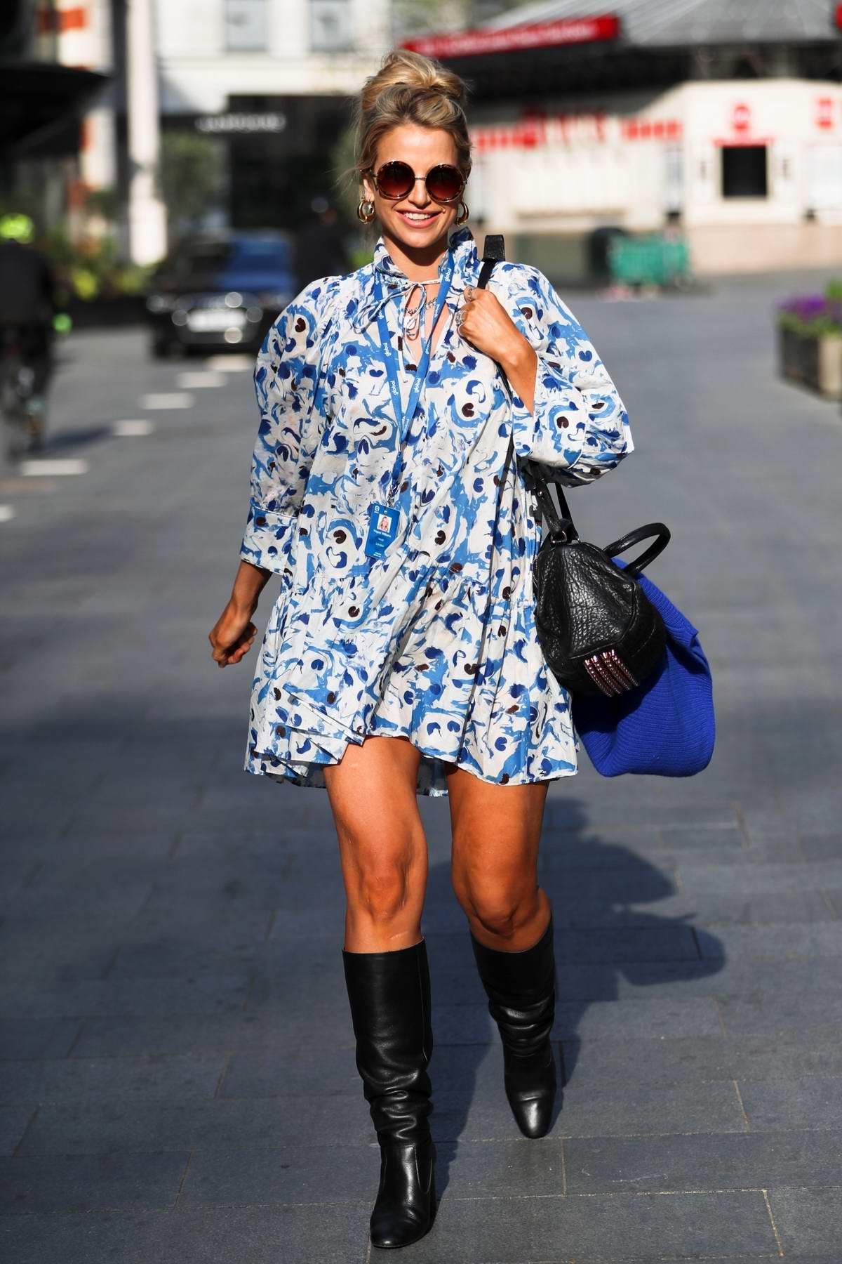 Vogue Williams seen leaving Heart Radio breakfast show in summer dress in London, UK