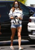 Alessandra Ambrosio looks fab in a tie-dye hoodie and denim shorts while out shopping at Vons with her son in Santa Monica, California