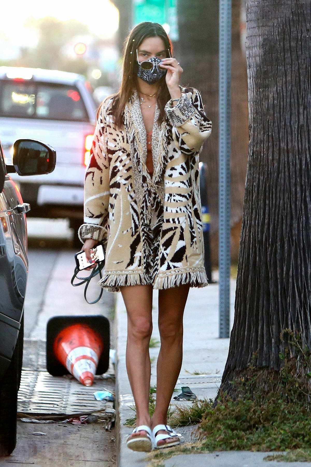 Alessandra Ambrosio seen wearing an animal print coat as she steps out with Nicolo Oddi in Venice, California