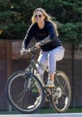 Ali Larter enjoys a bike ride around her neighborhood in Pacific Palisades, California